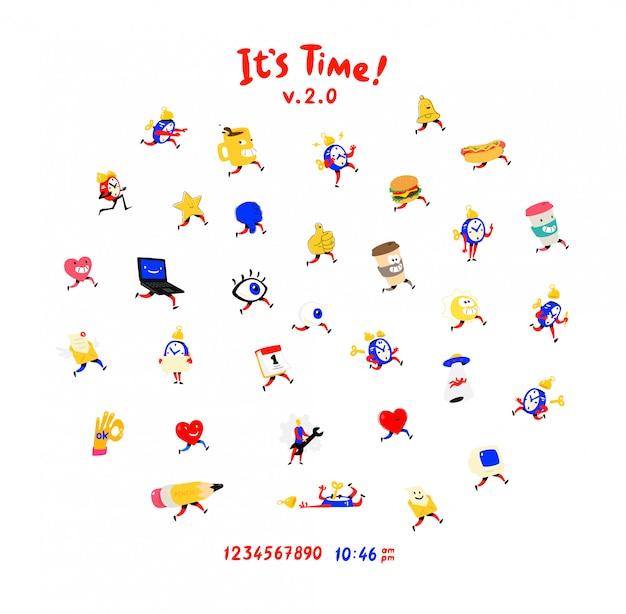 Divertenti personaggi amichevoli. vettore. icone per orologi, sveglie, tazze, occhi e cuori per i social network. Vettore Premium