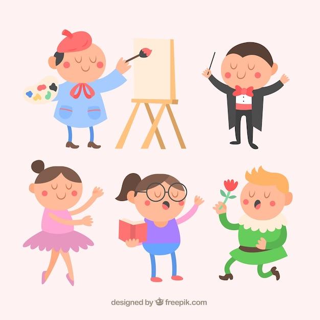 Divertenti personaggi artistici in stile cartone animato