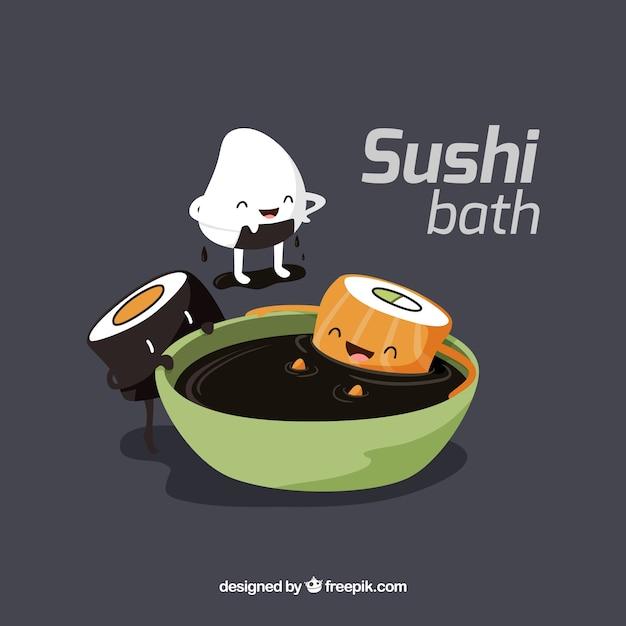 Divertenti pezzi di sushi che fanno il bagno di soia scaricare vettori gratis - Bambolotti che fanno il bagno ...