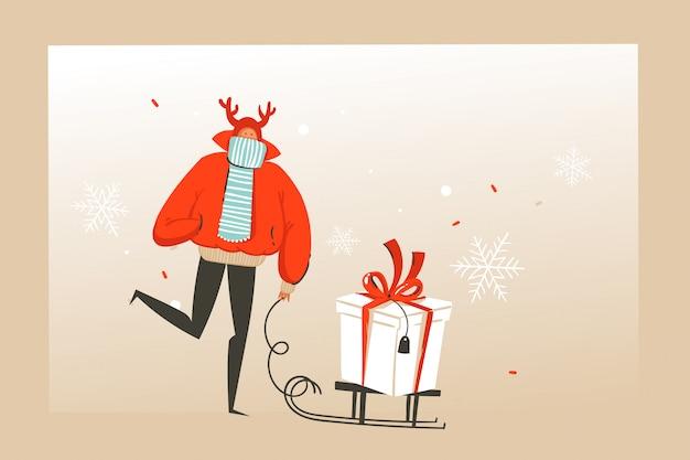 Divertimento disegnato a mano astratto merry christmas tempo cartoon illustrazione biglietto di auguri con la gente felice del mercato di natale, regali e copia spazio posto per il vostro testo su sfondo artigianale. Vettore Premium