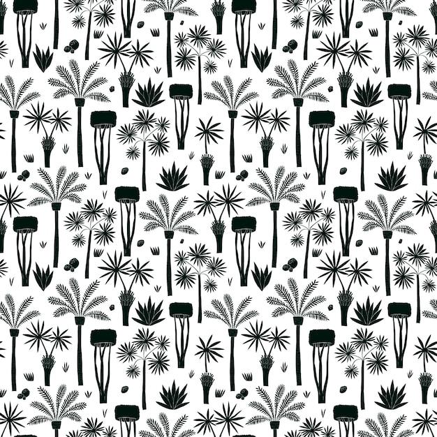 Divertimento disegnato a mano palme e alberi senza cuciture. piante africane Vettore Premium
