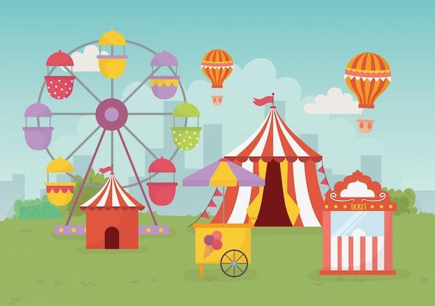 Divertimento fiera carnevale tenda aria cabina biglietti biglietti ruota panoramica intrattenimento ricreativo Vettore Premium