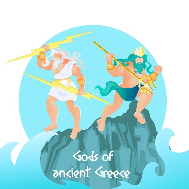 Divinità dell'antica grecia zeus e poseidone, olimpo Vettore Premium