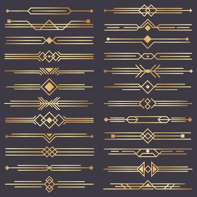 Divisore art deco. confine oro retrò, ornamenti decorativi anni '20 e bordi divisori dorati Vettore Premium