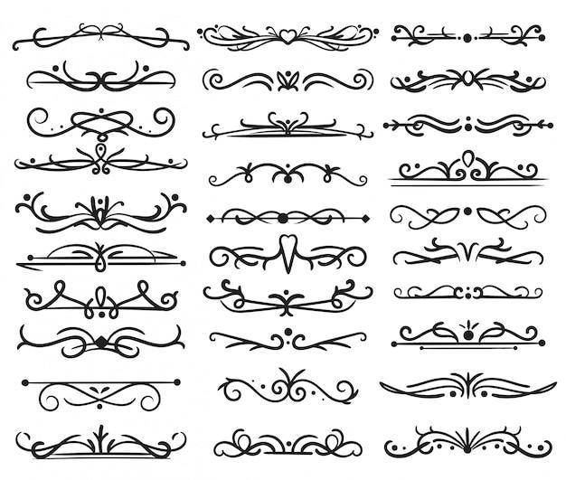 Divisore di pagina decorativo. turbinii vintage, cornici per ornamenti, bordi floreali, divisori ornati. disegno vettoriale isolato Vettore Premium