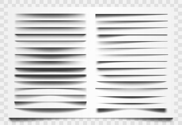 Divisore realistico di ombra. separatore ombra linea, divisore barra web d'angolo, ombre orizzontali che dividono i modelli impostati. decorazione dell'ombra della barra, illustrazione realistica della struttura del confine Vettore Premium