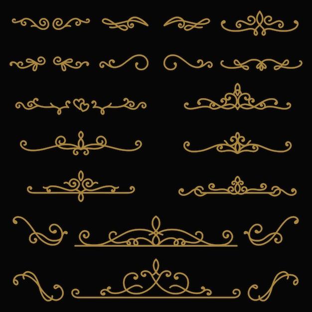 Divisori di testo disegnato a mano vintage Vettore Premium