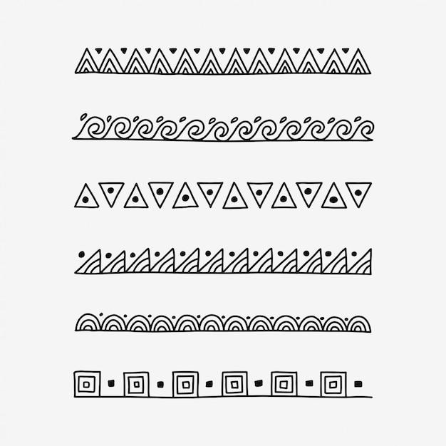 Divisori di testo modello doodle disegnato a mano Vettore Premium