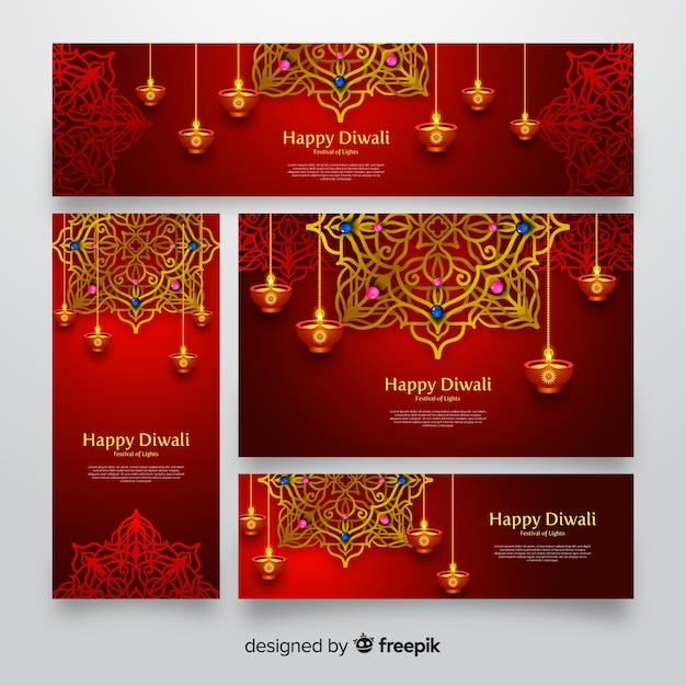 Diwali banner web design realistico Vettore gratuito