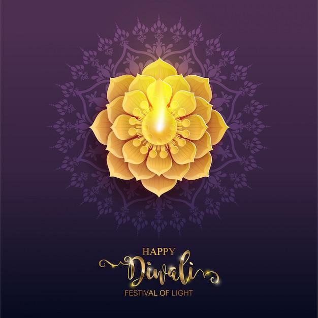Diwali, deepavali o dipavali il festival delle luci dell'india con oro diya modellato e cristalli su carta Vettore Premium