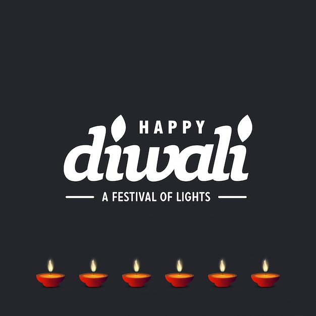Diwali design con sfondo scuro e tipografia vettoriale Vettore gratuito