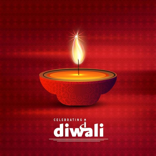 Diwali design sfondo scuro e tipografia vettoriale Vettore gratuito