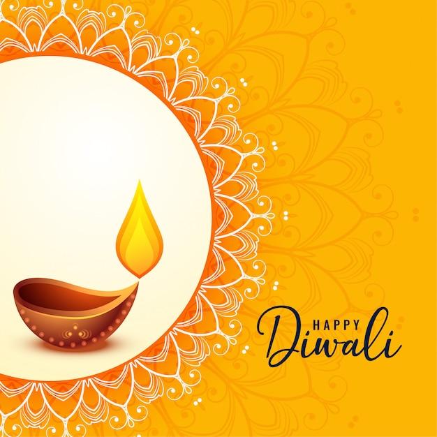 Diwali felice saluto banner bellissimo design Vettore gratuito