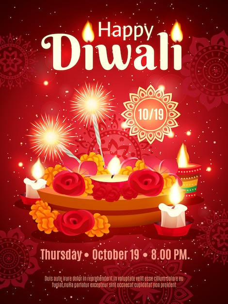 Diwali holiday poster Vettore gratuito