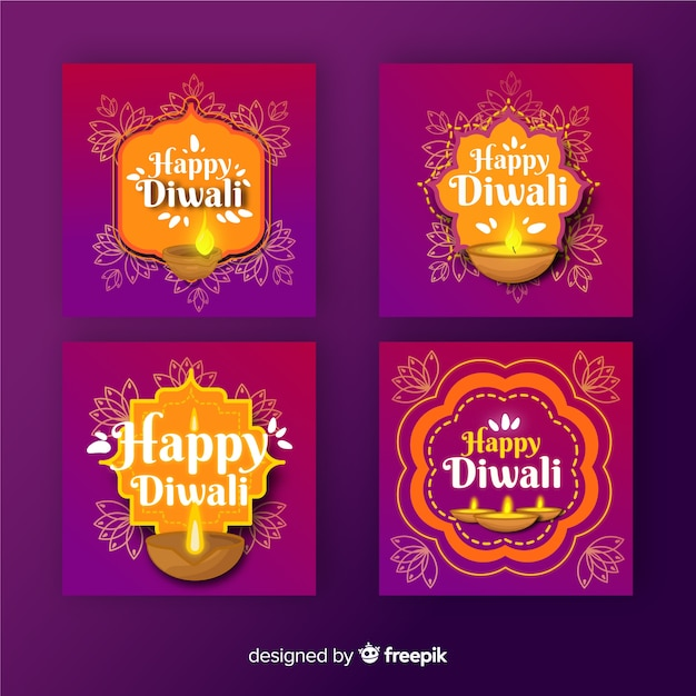 Diwali instagram post collection Vettore gratuito