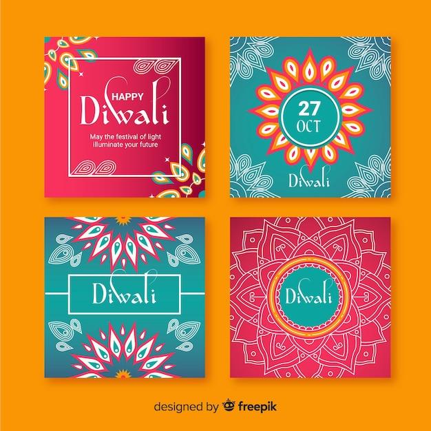 Diwali instagram post collection Vettore gratuito