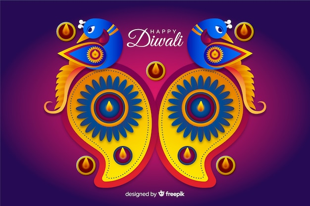 Diwali sfondo in stile carta Vettore gratuito