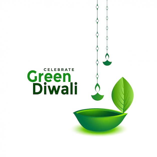Diya verde creativo di foglia di diwali di eco Vettore gratuito