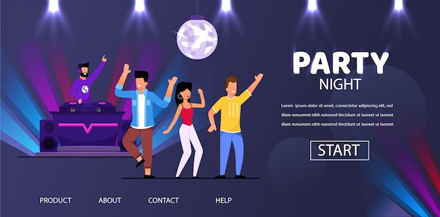 Dj night club party play musica people crowd dance Vettore Premium