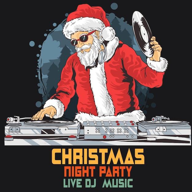 Dj party club di babbo natale Vettore Premium