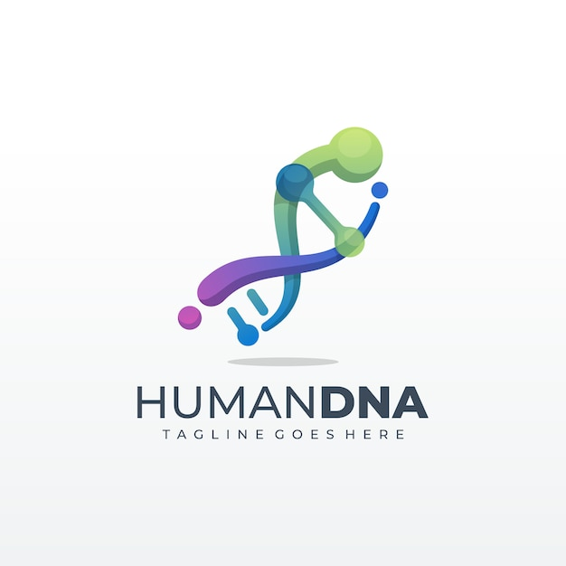 Dna genetico simbolo Vettore Premium