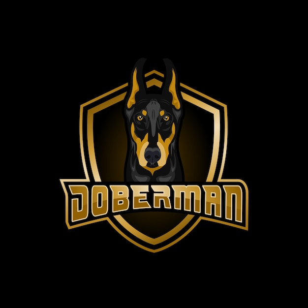 Doberman esports logo Vettore Premium