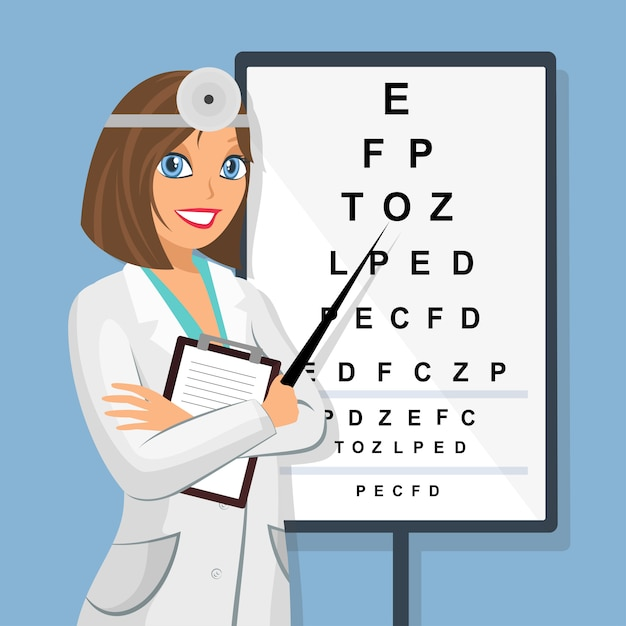 Doctor at sight check board per esami della vista. Vettore Premium