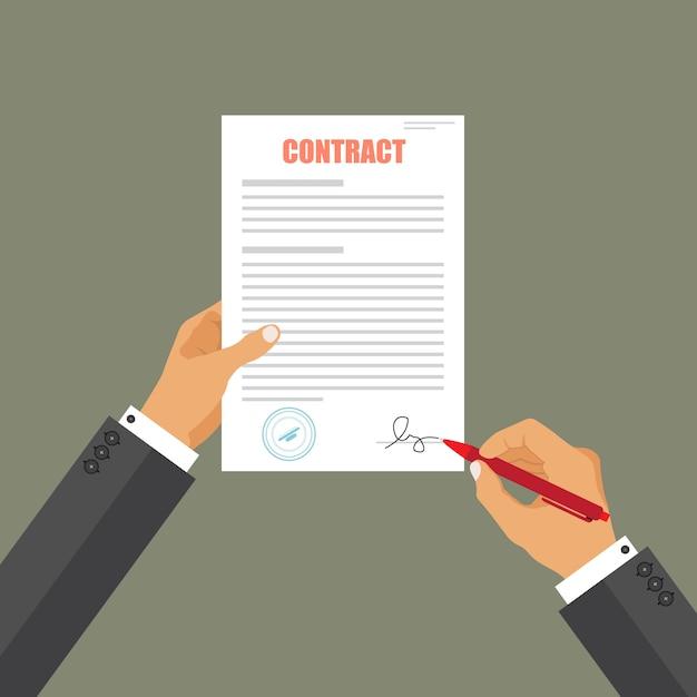 Documento cartaceo di accordo del segno dell'uomo d'affari Vettore Premium