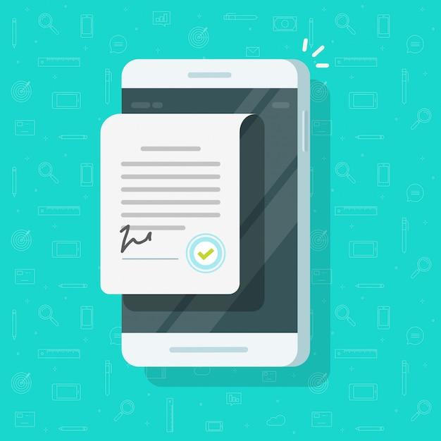Documento di contratto con il segno sul telefono cellulare o accordo sul fumetto piano dell'illustrazione del cellulare Vettore Premium