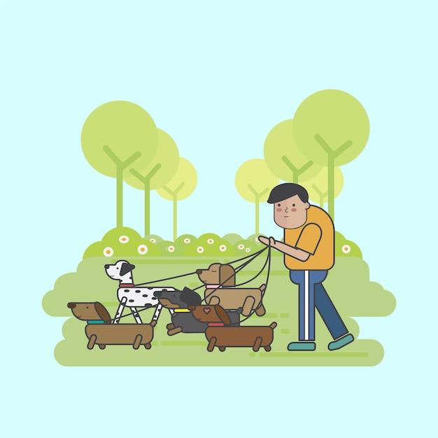 Dog walker che cammina con un branco di cani Vettore gratuito