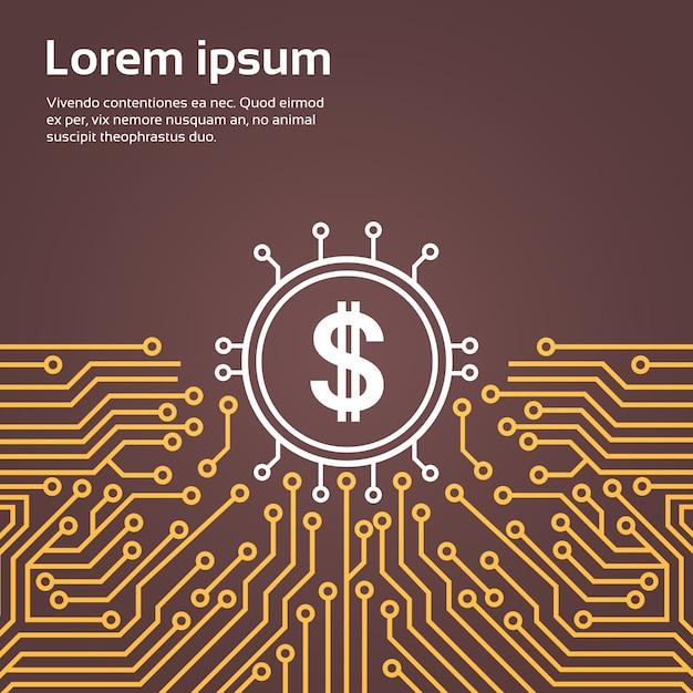 Dolar firma l'insegna di concetto del sistema del centro dati della rete di backgroung di moterboard del chip del computer Vettore Premium