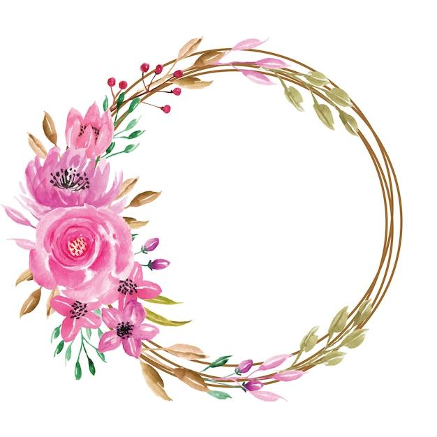 Dolce corona floreale dell'acquerello rosa Vettore Premium