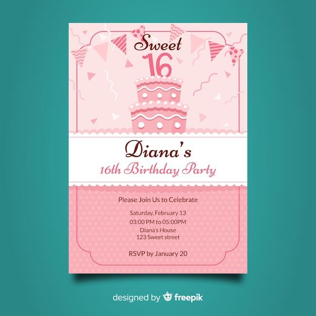 Dolce invito di compleanno sedici anni Vettore gratuito