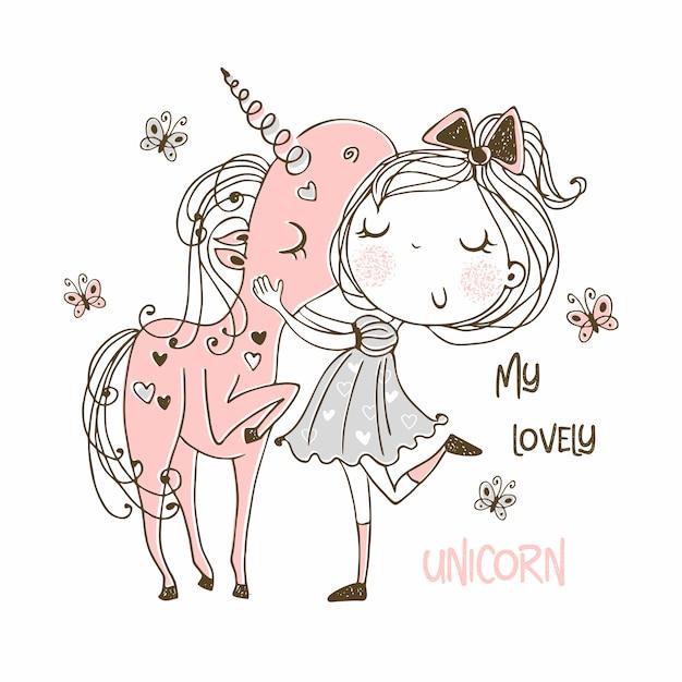 Dolce ragazza con un unicorno magico. Vettore Premium