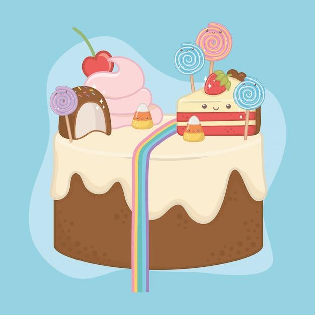 Dolce torta di crema al cioccolato con personaggi kawaii Vettore gratuito