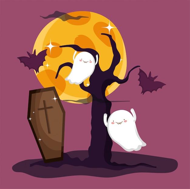 Dolcetto o scherzetto per felice halloween Vettore Premium