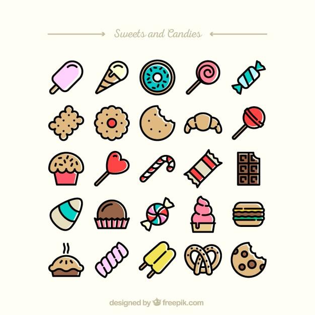 Dolci e caramelle icone Vettore gratuito