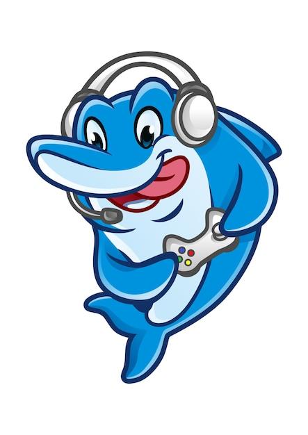Dolfin games mascot design Vettore Premium