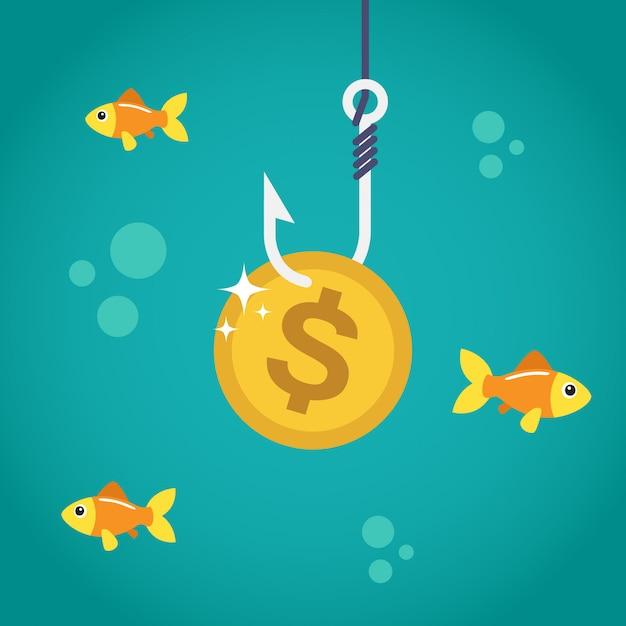 Dollaro della moneta sul gancio di pesca Vettore Premium
