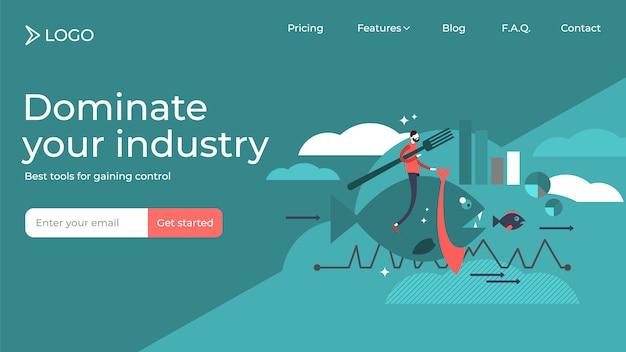 Domina la tua progettazione piana del modello della pagina di atterraggio di vendite dell'illustrazione di vettore del settore Vettore Premium