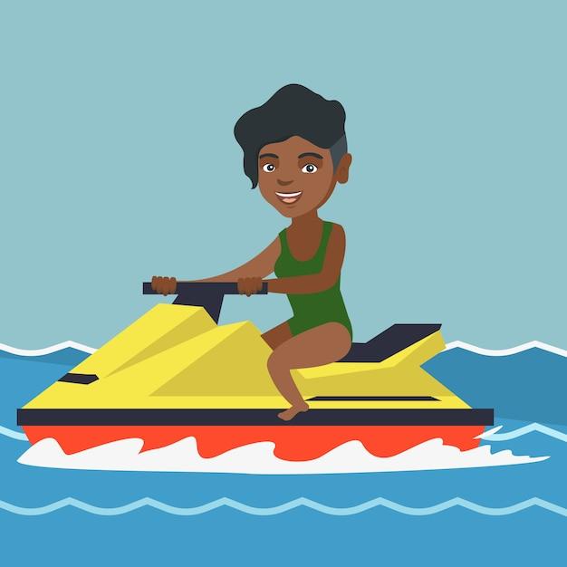 Donna afro-americana in sella a uno scooter d'acqua. Vettore Premium