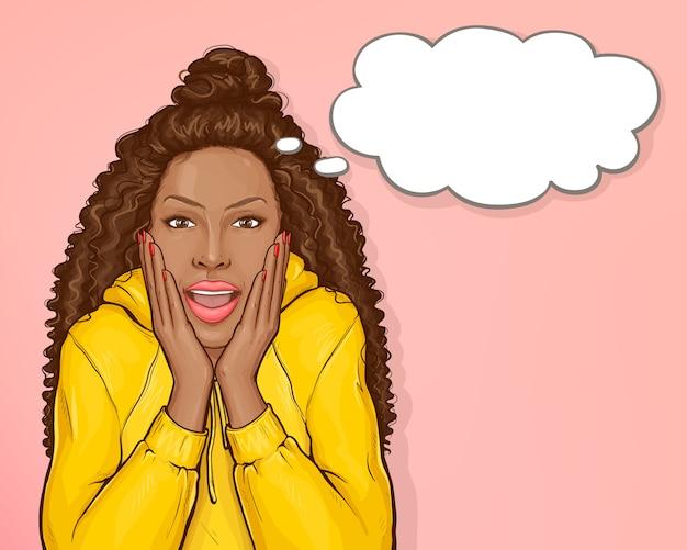 Donna afroamericana sorpresa con i capelli afro   Vettore ...