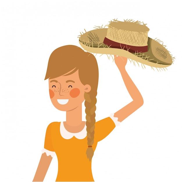Donna agricoltore con cappello di paglia Vettore Premium