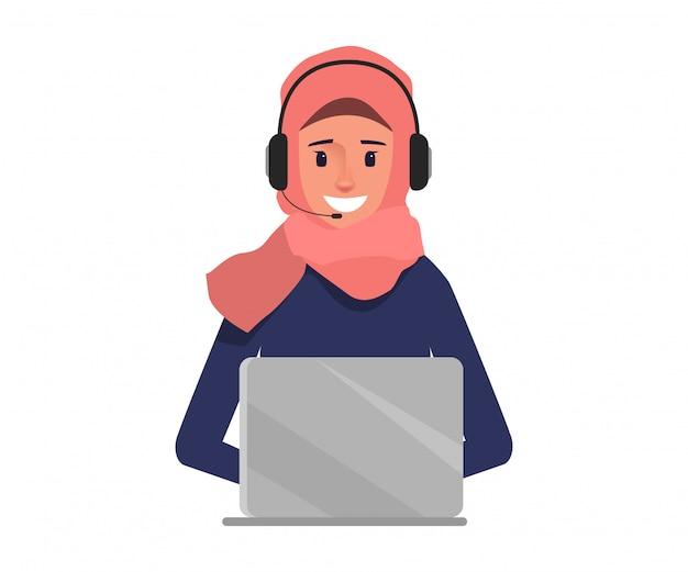 Donna araba di affari nella call center al carattere del servizio clienti. Vettore Premium