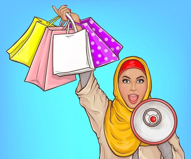 Donna araba nel hijab con l'illustrazione rumorosa del fumetto dei sacchetti della spesa e dell'altoparlante Vettore gratuito