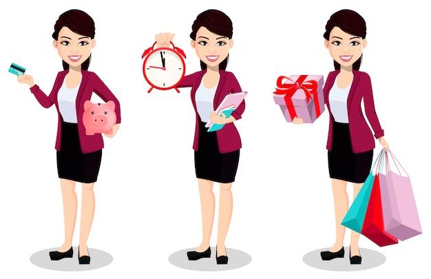 Donna asiatica di affari in vestiti dell'ufficio Vettore Premium