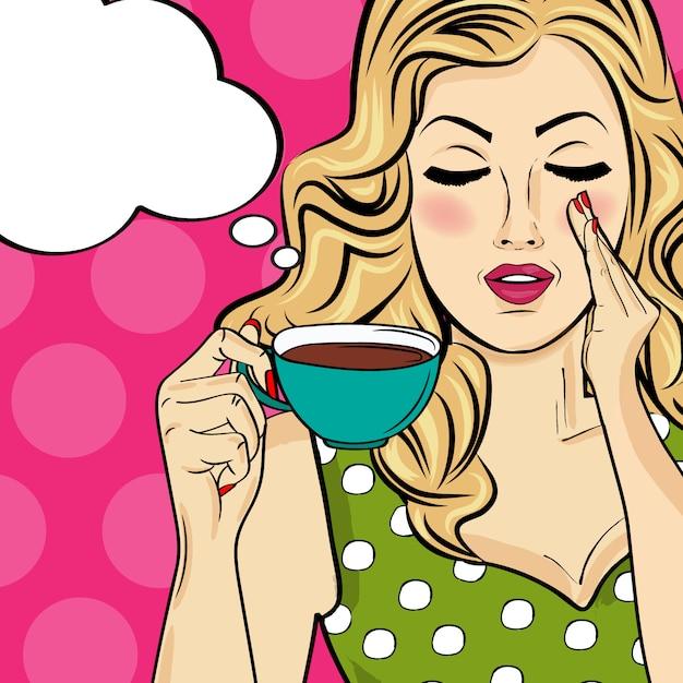 Donna bionda sexy pop art con tazza di caffè. manifesto pubblicitario in stile fumetto. vettore Vettore Premium