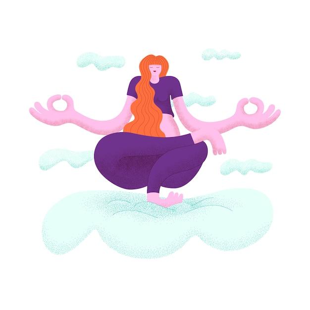 Donna capelli lunghi che praticano yoga in equilibrio su un piede tra le nuvole Vettore Premium