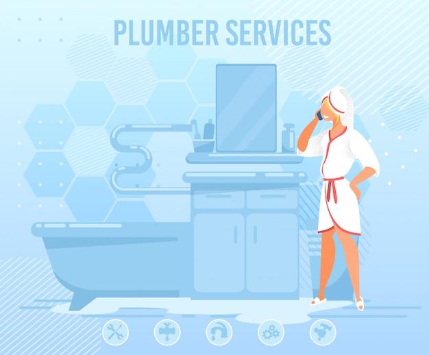 Donna che chiama l'idraulico service help flat banner Vettore Premium