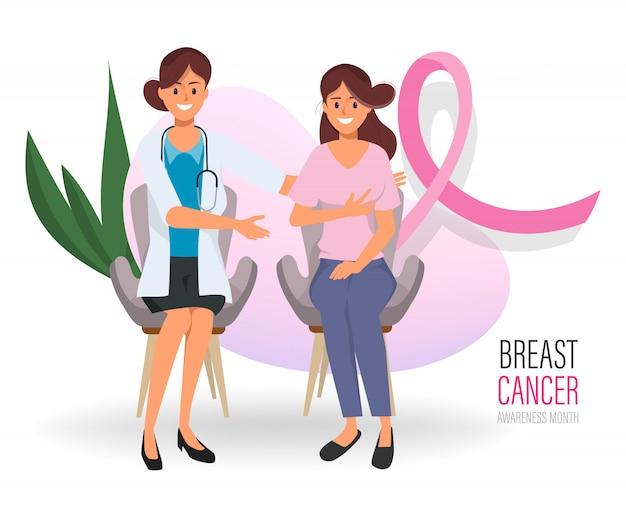 Donna che controlla i suoi seni con medico in giorno internazionale del cancro al seno. Vettore Premium